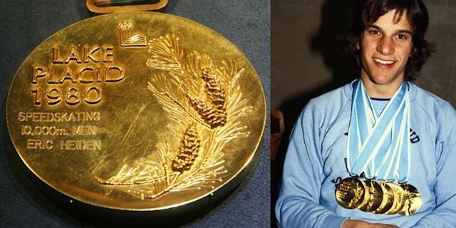 <p>A gold medal from the 1980 Olympics in Lake Placid, United States. It was given to Eric Heiden for winning the 10,000m Men's Speed Skating event.<br>(AP Photo/Tina Fineberg; USA's Eric Heiden with his record five gold medals/photo by Bettmann/Getty Images) </p>