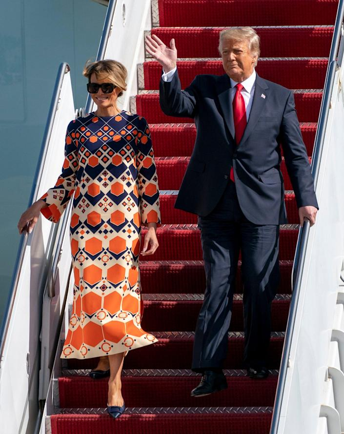 President Donald Trump and first lady Melania Trump arrivie at Palm Beach International Airport in West Palm Beach, Florida on January 20, 2021.