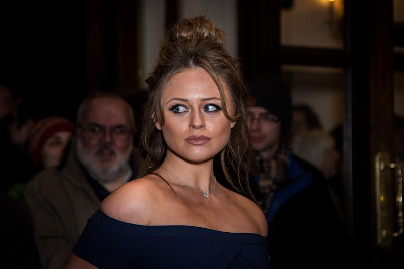 Emily Atack poses for photographers upon arrival at the world premiere of the play 'The End Of Longing' in London, Thursday, Feb. 11, 2016. (Photo by Vianney Le Caer/Invision/AP)
