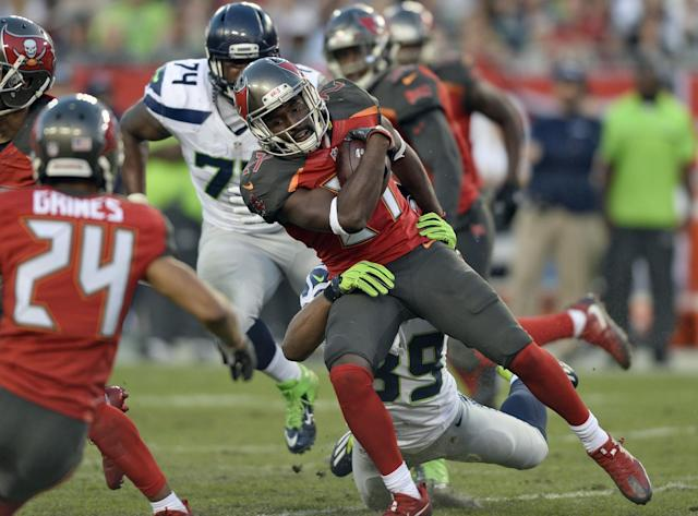 Tampa Bay Buccaneers cornerback Alterraun Verner played with a heavy heart and made a crucial INT. (AP)