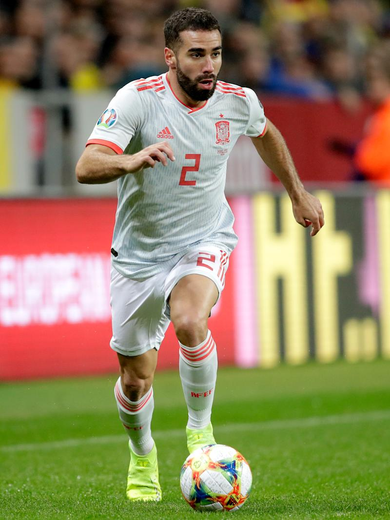SOLNA, SWEDEN - OCTOBER 15: Dani Carvajal of Spain during the EURO Qualifier match between Sweden v Spain at the Friends Arena on October 15, 2019 in Solna Sweden (Photo by David S. Bustamante/Soccrates/Getty Images)