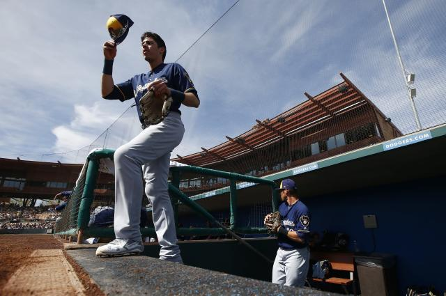 Christian Yelich leads the new-look Brewers outfield, along with Lorenzo Cain. (AP)