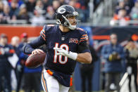 Chicago Bears quarterback Mitchell Trubisky (10) looks tothrow against the New York Giants during the first half of an NFL football game in Chicago, Sunday, Nov. 24, 2019. (AP Photo/Charles Rex Arbogast)