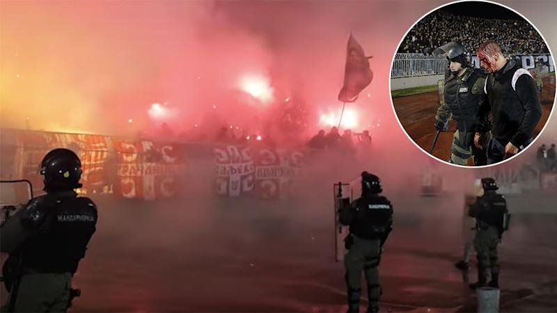 Violent scenes marred the Belgrade derby between Red Star and Partizan. Pic: Getty