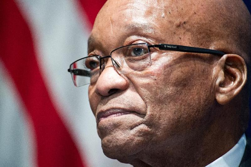 South African President Jacob Zuma waits to address an audience August 4, 2014 at the National Press Club on the sidelines of the US-Africa Summit in Washington, DC (AFP Photo/Karen Bleier)