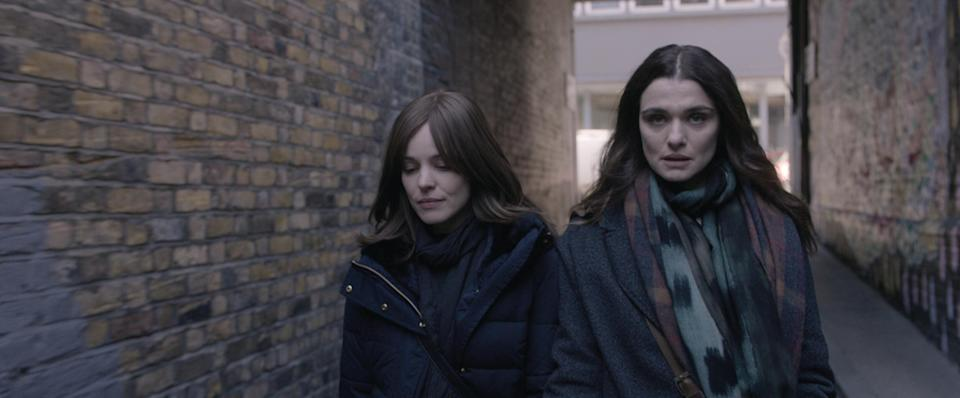 """<strong><em><h3>Disobedience </h3></em></strong><h3>(2018)<br></h3><br>Years after leaving the Orthodox Jewish community in which she was raised, Ronit (Rachel Weisz) returns for her estranged father's funeral. There, she reconnects with Esti (Rachel McAdams), her childhood best friend – and eventual lover. The women are confronted with the fact that their feelings for each other remain unchanged, despite time and differences in life paths. Their ensuing hookups are <a href=""""https://www.refinery29.com/en-us/2018/04/196969/disobedience-movie-review-orthodox-lesbian-sex-scene"""" rel=""""nofollow noopener"""" target=""""_blank"""" data-ylk=""""slk:infused with longing, regret, and supercharged sexiness"""" class=""""link rapid-noclick-resp"""">infused with longing, regret, and supercharged sexiness</a>."""