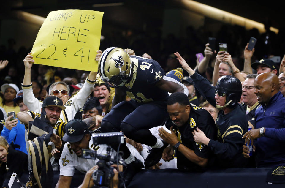 Running back Alvin Kamara should have plenty of incentive to have a big Week 17 as the New Orleans Saints aim to win the NFC South title. (AP Photo/Butch Dill)