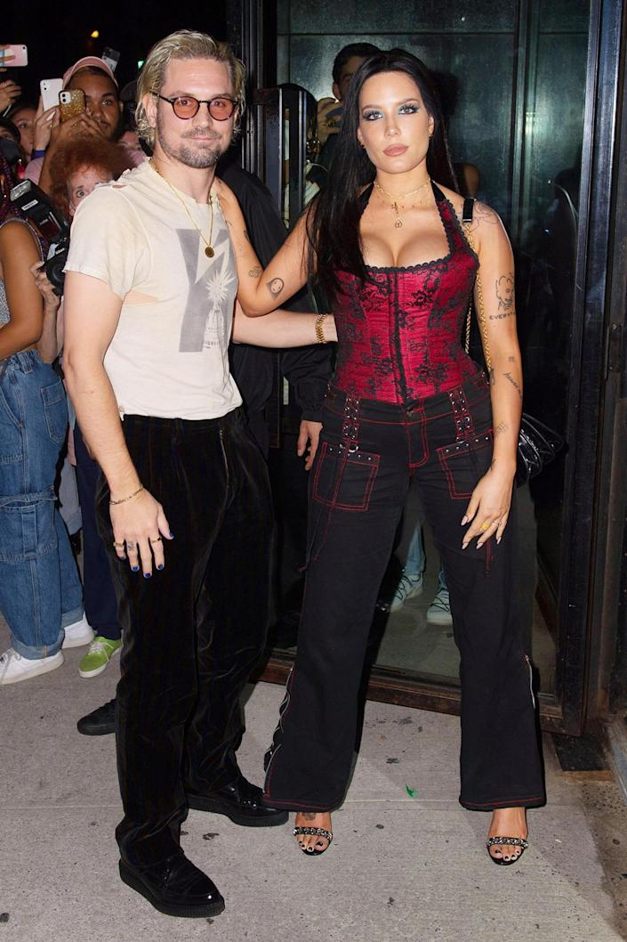 <p>New parents Halsey and Alev Aydin enjoy a date night at Bella Hadid's party during New York Fashion Week on Sept. 8.</p>