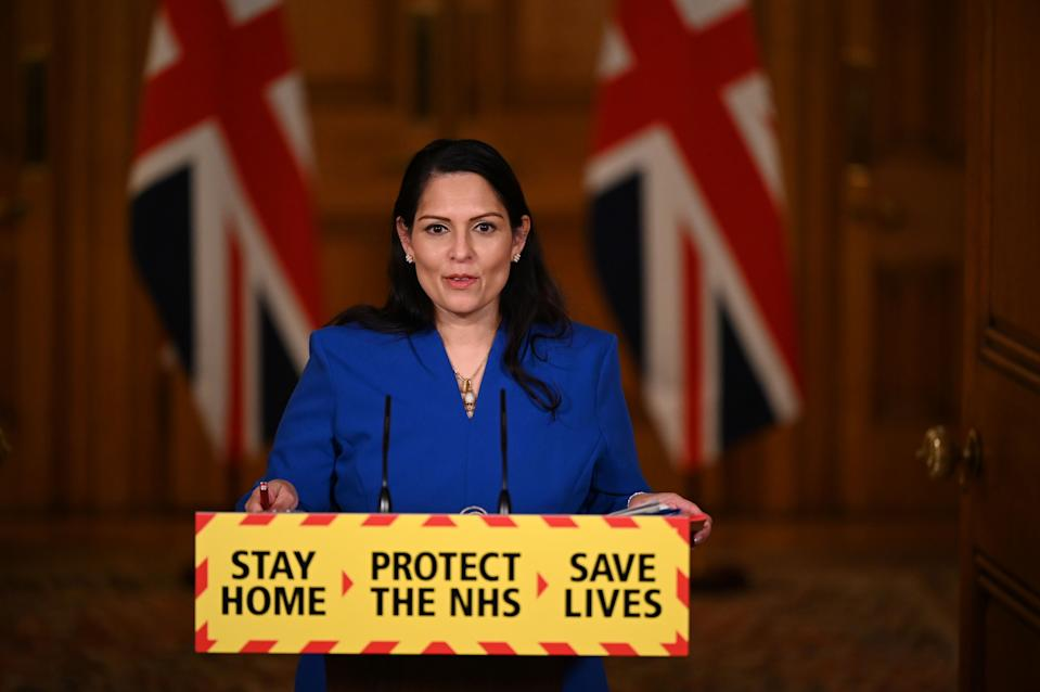 Britain's Home Secretary Priti Patel attends a COVID-19 pandemic virtual press conference inside 10 Downing Street in central London on January 12, 2021. - People who flout coronavirus lockdown rules were on Tuesday warned that police will take action, as the government vowed to step up enforcement measures to cut surging infection rates that risk overwhelming health services. Home Secretary Priti Patel said 45,000 on-the-spot fines had already been issued to people who failed to adhere to strict lockdown guidelines. (Photo by Leon Neal / POOL / AFP) (Photo by LEON NEAL/POOL/AFP via Getty Images)