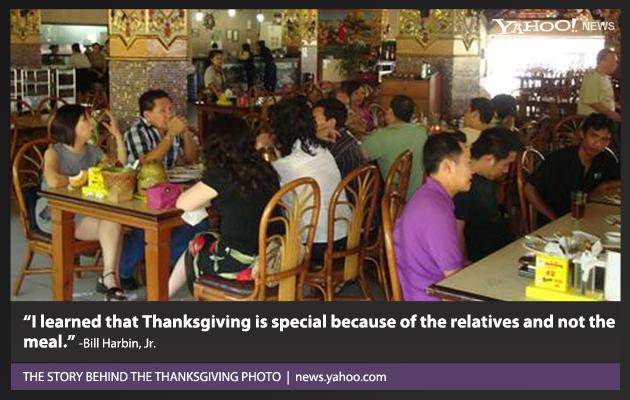Having lived in America all of my life, I am used to relatives gathering this special day in November to eat turkey and smell pumpkin pie. In 2011, I learned that Thanksgiving is special because of the relatives and not the meal.  When I first met my wife, who is originally from Indonesia, her nieces and nephews were like a fun foreign college fraternity as they were attending school at Georgia State University. ... I was sad when they graduated and had to move back home. Last year, when the opportunity arose to travel to Indonesia, I was so happy to see them again. Life with these relatives was good once more. ... This holiday was in our hearts, yet this nation had no concept of this celebration and turkey was nonexistent.  Our Thanksgiving meal is pictured at a restaurant in Jakarta that served stuff I cannot name. I discovered the true meaning of Thanksgiving is not where you are but being with people you love.  – Bill Harbin, Jr.