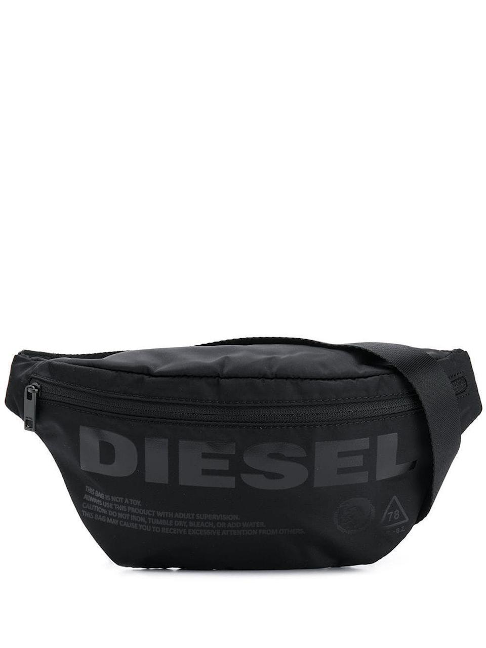 """<p><strong>Diesel</strong></p><p>farfetch.com</p><p><strong>$78.00</strong></p><p><a href=""""https://go.redirectingat.com?id=74968X1596630&url=https%3A%2F%2Fwww.farfetch.com%2Fshopping%2Fmen%2Fdiesel-logo-print-belt-bag-item-13530514.aspx&sref=https%3A%2F%2Fwww.seventeen.com%2Flife%2Fg23515577%2Fcool-gifts-for-teen-boys%2F"""" rel=""""nofollow noopener"""" target=""""_blank"""" data-ylk=""""slk:Shop Now"""" class=""""link rapid-noclick-resp"""">Shop Now</a></p><p>A little black fanny pack goes with everything. Trust, he'll be reaching for that bad boy every time he gets dressed.</p>"""