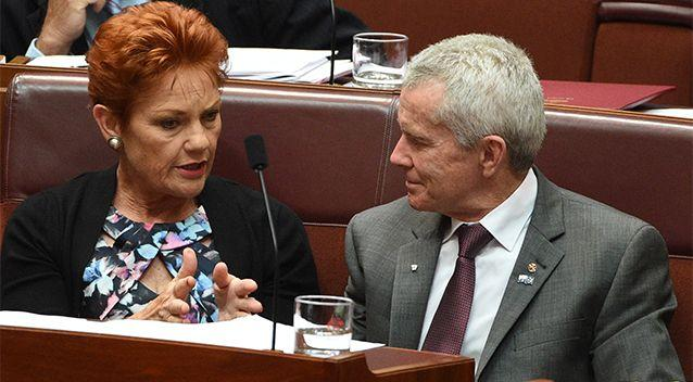 One Nation Senator Malcolm Roberts speaks with Senator Pauline Hanson. Photo: AAP
