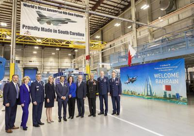 Shaikh Abdullah bin Rashed Al Khalifa, ambassador of the Kingdom of Bahrain to the United States (center) tours the Lockheed Martin F-16 production line in Greenville, South Carolina, on Dec. 17.