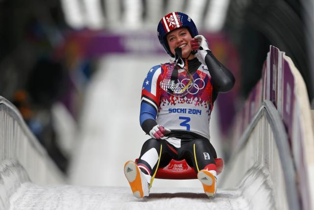Kate Hansen of the U.S. finishes a run of the women's singles luge competition at the 2014 Sochi Winter Olympics, at the Sanki Sliding Center in Rosa Khutor February 10, 2014. REUTERS/Arnd Wiegmann (RUSSIA - Tags: SPORT LUGE OLYMPICS)