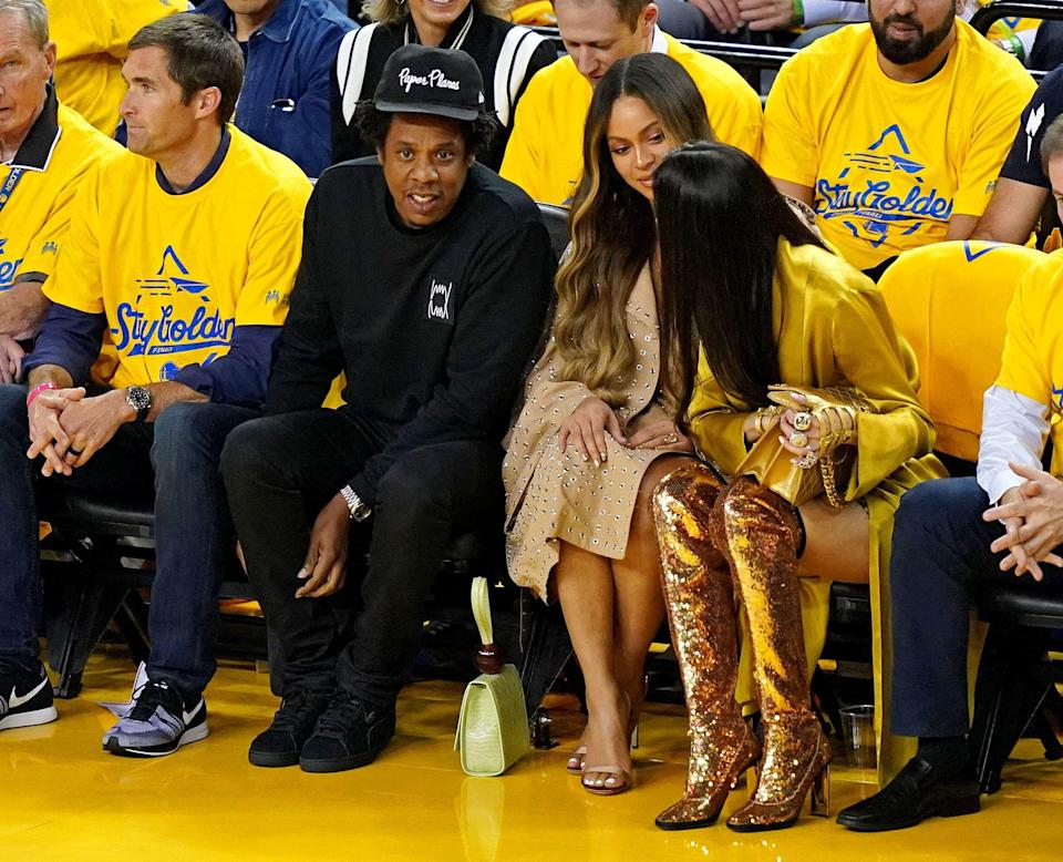 Jun 5, 2019; Oakland, CA, USA; Recording artist Beyonce and Jay-Z during the second quarter in game three of the 2019 NBA Finals between the Golden State Warriors and the Toronto Raptors at Oracle Arena. Mandatory Credit: Kyle Terada-USA TODAY Sports