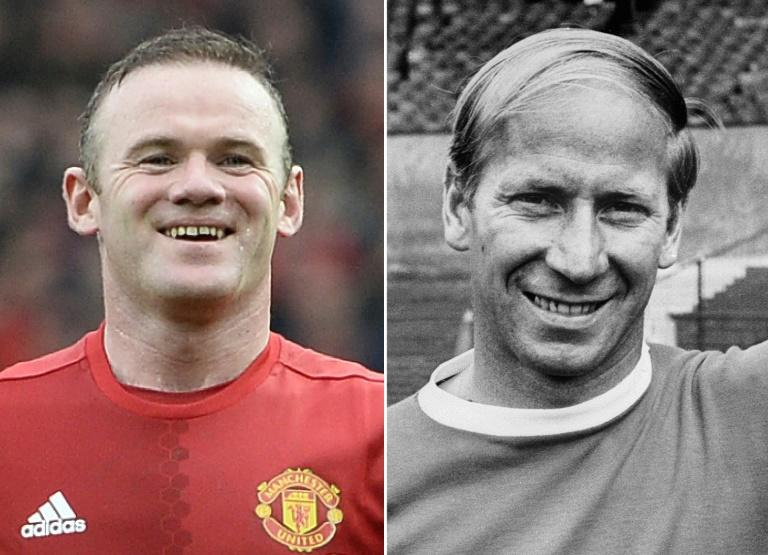 Manchester United's English striker Wayne Rooney (L) on January 7, 2017 and Manchester United's English striker Bobby Charlton (R) in Mexico City on May 25, 1970 Wayne Rooney equalled Bobby Charlton's Manchester United scoring record of 249 goals in all competitions as his side crushed ex-United defender Jaap Stam's Reading 4-0 in the FA Cup third round on January 7, 2017