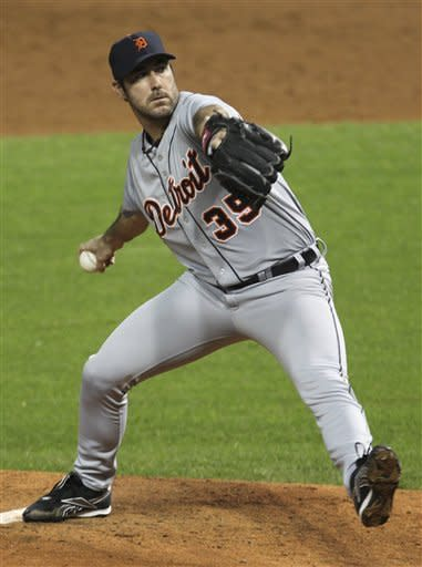 Detroit Tigers starting pitcher Justin Verlander delivers in the first inning of a baseball game against the Cleveland Indians, Friday, Sept. 14, 2012, in Cleveland. (AP Photo/Tony Dejak)