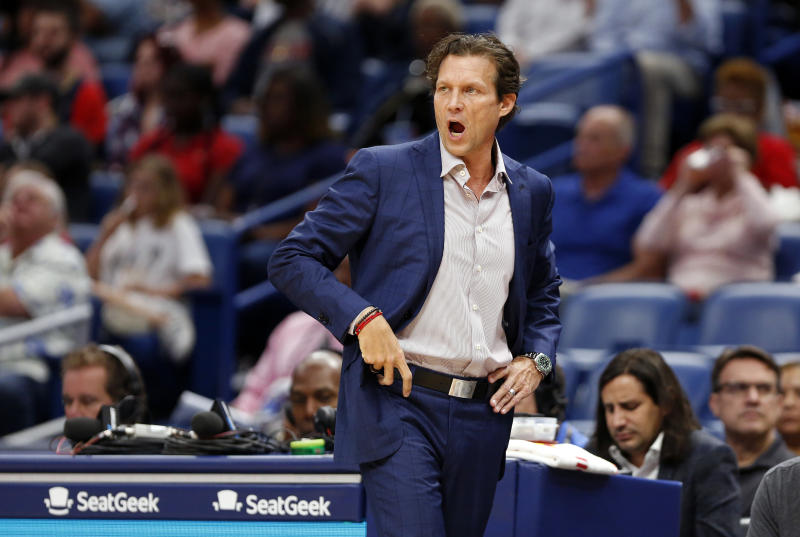 Utah Jazz coach Quin Snyder reacts to a play against the New Orleans Pelicans during the first half of a preseason NBA basketball game in New Orleans, Friday, Oct. 11, 2019. (AP Photo/Tyler Kaufman)