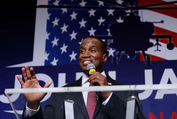 PHOTO: John James, Michigan GOP Senate candidate, speaks at an election night event after winning his primary election at his business James Group International, Aug. 7, 2018, in Detroit. (Bill Pugliano/Getty Images)