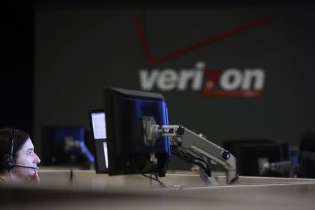 File picture of a cyber-security expert monitoring telecommunications traffic at a network operations center in a Verizon facility in Ashburn