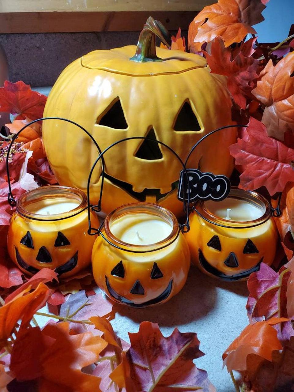 <p>Available on Etsy, these <span>Pumpkin Jack O'Lantern Candles</span> ($18) double as decor and as a fall-scented air freshener. Choose from an array of fall-themed aromas like toasted pumpkin, apple maple bourbon, and caramel pumpkin.</p>