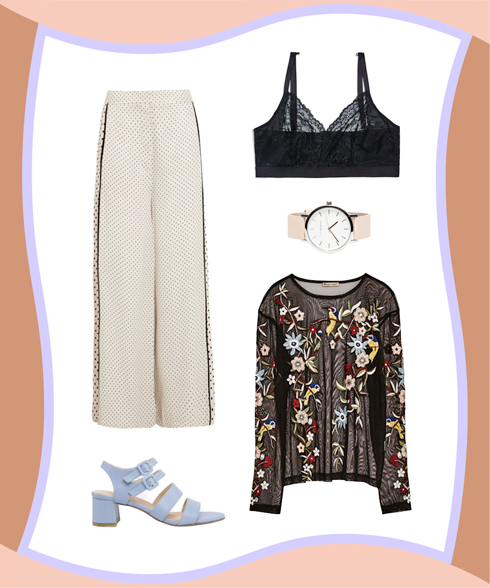 "<p><strong>— PAID —</strong></p><p>Make your favorite lace bralette work for your fancier functions by showing it off under an embroidered tulle top. Pair that killer combo with satin pants, colorful heels, and a sleek watch, and you'll be ready for any spring soirée.</p><p><strong>SPANX</strong> Spotlight On Lace Bralette, $52, available at <a href=""https://ad.atdmt.com/c/go;p=11222203339942;ev.a=1;idfa=;aaid=;idfa_lat=;aaid_lat=;cache="" rel=""nofollow noopener"" target=""_blank"" data-ylk=""slk:SPANX"" class=""link rapid-noclick-resp"">SPANX</a>; <strong>Zara</strong> Embroidered Tulle T-shirt, $29.90, available at <a href=""https://www.zara.com/us/en/woman/tops/view-all/embroidered-tulle-t-shirt-c719021p4249085.html"" rel=""nofollow noopener"" target=""_blank"" data-ylk=""slk:Zara"" class=""link rapid-noclick-resp"">Zara</a>; <strong>Zimmermann</strong> Polka-dot Satin Wide-leg Pants, $420, available at <a href=""https://www.net-a-porter.com/us/en/product/855942/zimmermann/polka-dot-satin-wide-leg-pants"" rel=""nofollow noopener"" target=""_blank"" data-ylk=""slk:Net-a-Porter"" class=""link rapid-noclick-resp"">Net-a-Porter</a>; <strong>The Horse</strong> Rose Gold/Natural Band Watch, $119, available at <a href=""http://needsupply.com/rose-gold-natural-band-watch.html"" rel=""nofollow noopener"" target=""_blank"" data-ylk=""slk:Need Supply Co."" class=""link rapid-noclick-resp"">Need Supply Co.</a>; <strong>Marais USA</strong> Jardin Heel, $260, available at <a href=""https://www.maraisusa.com/collections/our-products/products/jardin-heel-sky#.WObQvVMrKfV"" rel=""nofollow noopener"" target=""_blank"" data-ylk=""slk:Marais USA"" class=""link rapid-noclick-resp"">Marais USA</a>.</p>"
