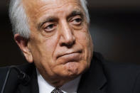 Zalmay Khalilzad, special envoy for Afghanistan Reconciliation, testifies before the Senate Foreign Relations Committee on Capitol Hill in Washington, April 27, 2021, during a hearing on the Biden administration's Afghanistan policy and plans to withdraw troops after two decades of war. (AP Photo/Susan Walsh, Pool)