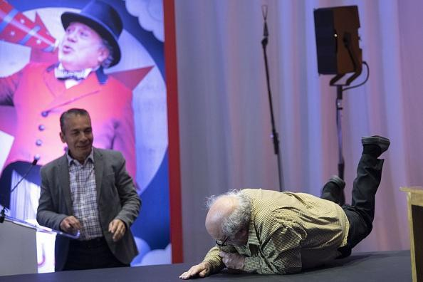 Danny DeVito took the nasty tumble after arriving at the press conference in Mexico City. Picture: Getty Images