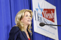 Sen. Wendy Davis, D-Fort Worth, speaks to supporters at a rally Thursday, Oct. 3, 2013, in Haltom City, Texas. Davis formally announced her campaign to run for Texas governor. (AP Photo/LM Otero)