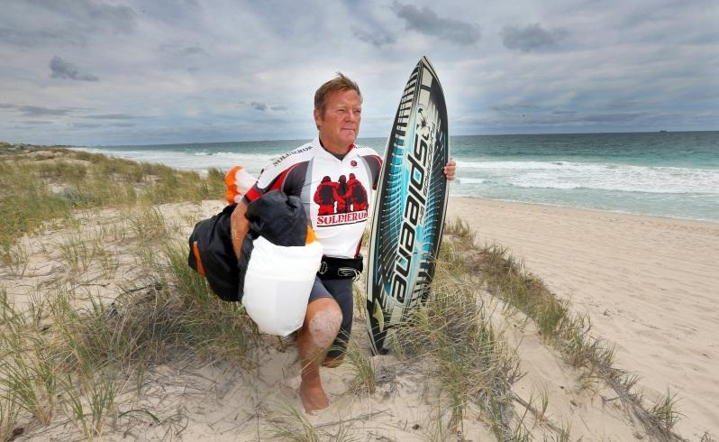 Kitesurfer Ian Young will kitesurf from Scarborough to Exmouth. Picture: Sharon Smith/The West Australian