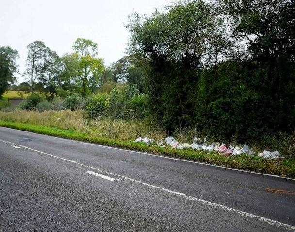 PHOTO: A general view of flowers left in remembrance of Harry Dunn on the B4031 near RAF Croughton on Oct. 7, 2019 near Brackley, England. (Peter Summers/Getty Images)