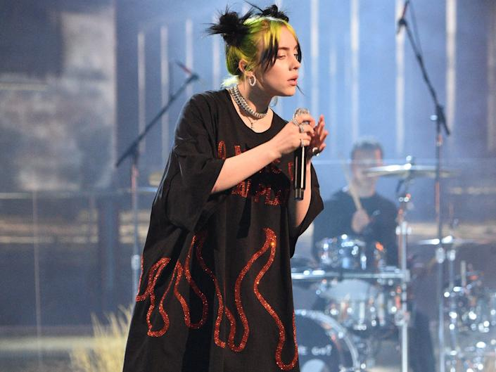 Billie Eilish performs at the American Music Awards in 2019.