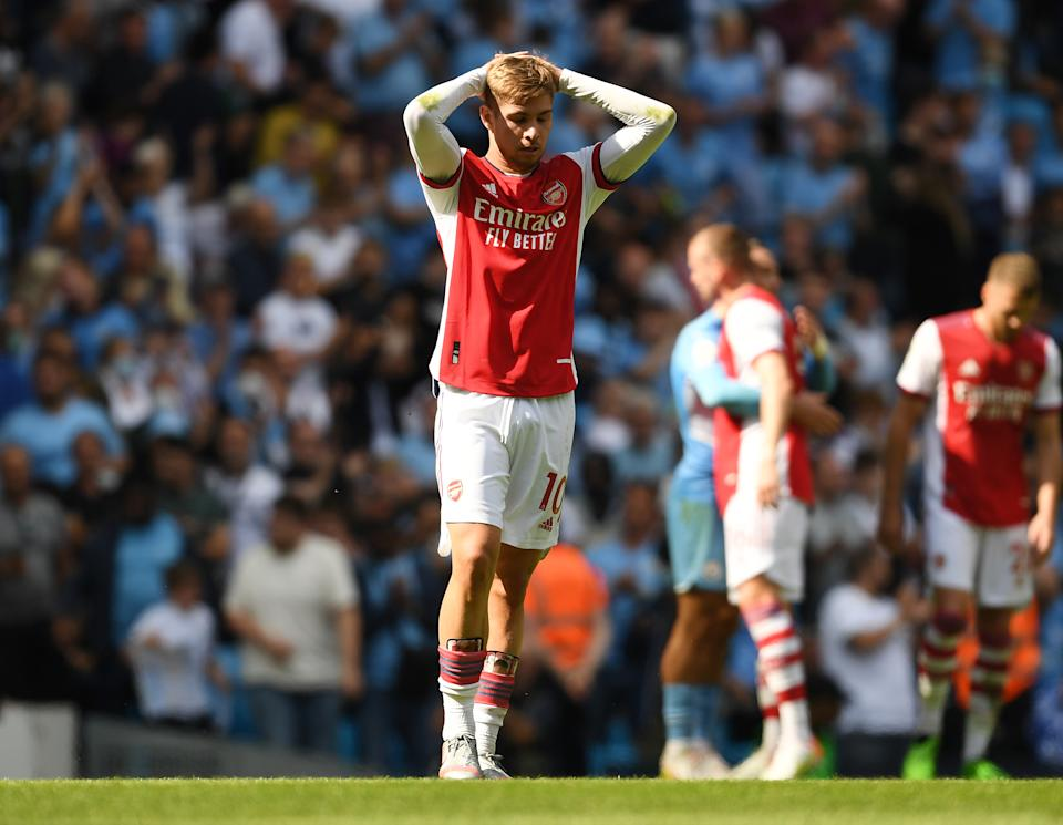 Emile Smith Rowe of Arsenal druing the Premier League match between Manchester City and Arsenal.