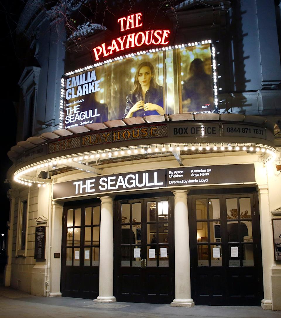 The exterior of The Playhouse Theatre where Clarke was performing (SplashNews.com)