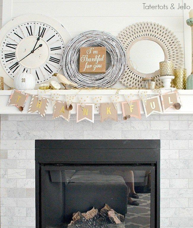 """<p>Here, layered paper and gilded craft letters are transformed into a reusable banner that spells out the word """"thankful."""" It's the perfect way to set the tone for your big feast—particularly if you display it right next to your dining table.</p><p><strong>Get the tutorial at <a href=""""https://tatertotsandjello.com/thanksgiving-mantel-and-diy-paper-thankful-banner/"""" rel=""""nofollow noopener"""" target=""""_blank"""" data-ylk=""""slk:Tatertots + Jello"""" class=""""link rapid-noclick-resp"""">Tatertots + Jello</a>. </strong></p><p><strong><a class=""""link rapid-noclick-resp"""" href=""""https://www.amazon.com/MerryNine-Triangle-Bunting-Vintage-Supplies/dp/B073Y2ZZLJ?tag=syn-yahoo-20&ascsubtag=%5Bartid%7C10050.g.2063%5Bsrc%7Cyahoo-us"""" rel=""""nofollow noopener"""" target=""""_blank"""" data-ylk=""""slk:SHOP BUNTING BANNERS"""">SHOP BUNTING BANNERS</a><br></strong></p>"""