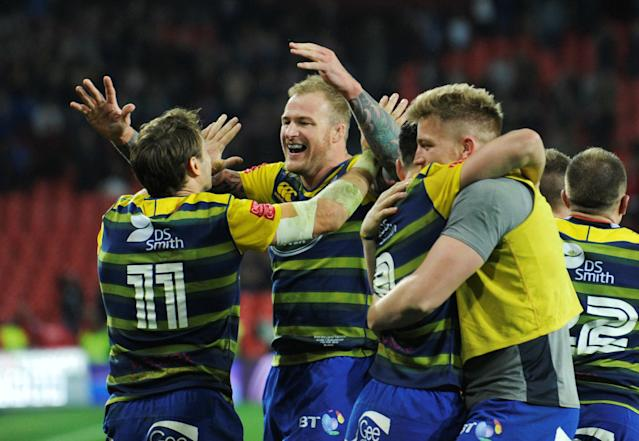 Rugby Union - European Challenge Cup Final - Cardiff Blues v Gloucester Rugby - San Mames, Bilbao, Spain - May 11, 2018 Cardiff Blues' Damian Welch and Blaine Scully celebrate after the match REUTERS/Vincent West