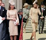<p>Middleton first wore this gold Alexander McQueen lace dress to celebrate the Queen's diamond Jubilee in June 2012, but re-wore the dress sans belt to a garden party at Buckingham Palace in June 2014. </p>