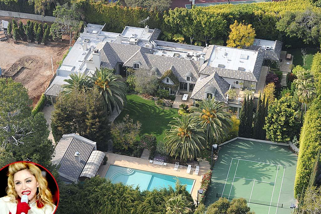"<strong>Madonna</strong><br /><strong>Beverly Hills, California</strong><br /><strong>Asking Price: $22.5 million<br /></strong>They don't call her the material Girl for nothing. Madonna currently has<a href=""http://omg.yahoo.com/blogs/celeb-news/madonna-selling-9-bedroom-beverly-hills-mansion-22-230400787.html"" target=""_blank""> <em>another</em> mansion on the market</a>, her 9-bedroom, 15-bath Beverly Hills mansion. According to <a href=""http://www.redfin.com/CA/Beverly-Hills/9425-Sunset-Blvd-90210/home/6822725"" target=""_blank"">Redfin</a>, how much the 54-year-old paid for the house back in 2003 was never disclosed, but the real estate website estimates the purchase price to have been somewhere around $14 million. The 17,000-square-foot abode contains two living rooms, a two-story dining room, a ""junior dining room"", two guest houses, and a 500-foot gated tree-lined driveway, all on 1.25 acres. And you know you've really arrived when your house has ""assistants' offices,"" as this one does. And don't forget the tennis court, screening room, private gym, and ""resort-size"" pool.<!--[if gte mso 9]><xml>  <w:LatentStyles DefLockedState=""false"" DefUnhideWhenUsed=""true""   DefSemiHidden=""true"" DefQFormat=""false"" DefPriority=""99""   LatentStyleCount=""267"">   <w:LsdException Locked=""false"" Priority=""0"" SemiHidden=""false""    UnhideWhenUsed=""false"" QFormat=""true"" Name=""Normal""/>   <w:LsdException Locked=""false"" Priority=""9"" SemiHidden=""false""    UnhideWhenUsed=""false"" QFormat=""true"" Name=""heading 1""/>   <w:LsdException Locked=""false"" Priority=""9"" QFormat=""true"" Name=""heading 2""/>   <w:LsdException Locked=""false"" Priority=""9"" QFormat=""true"" Name=""heading 3""/>   <w:LsdException Locked=""false"" Priority=""9"" QFormat=""true"" Name=""heading 4""/>   <w:LsdException Locked=""false"" Priority=""9"" QFormat=""true"" Name=""heading 5""/>   <w:LsdException Locked=""false"" Priority=""9"" QFormat=""true"" Name=""heading 6""/>   <w:LsdException Locked=""false"" Priority=""9"" QFormat=""true"" Name=""heading 7""/>   <w:LsdException Locked=""false"" Priority=""9"" QFormat=""true"" Name=""heading 8""/>   <w:LsdException Locked=""false"" Priority=""9"" QFormat=""true"" Name=""heading 9""/>   <w:LsdException Locked=""false"" Priority=""39"" Name=""toc 1""/>   <w:LsdException Locked=""false"" Priority=""39"" Name=""toc 2""/>   <w:LsdException Locked=""false"" Priority=""39"" Name=""toc 3""/>   <w:LsdException Locked=""false"" Priority=""39"" Name=""toc 4""/>   <w:LsdException Locked=""false"" Priority=""39"" Name=""toc 5""/>   <w:LsdException Locked=""false"" Priority=""39"" Name=""toc 6""/>   <w:LsdException Locked=""false"" Priority=""39"" Name=""toc 7""/>   <w:LsdException Locked=""false"" Priority=""39"" Name=""toc 8""/>   <w:LsdException Locked=""false"" Priority=""39"" Name=""toc 9""/>   <w:LsdException Locked=""false"" Priority=""35"" QFormat=""true"" Name=""caption""/>   <w:LsdException Locked=""false"" Priority=""10"" SemiHidden=""false""    UnhideWhenUsed=""false"" QFormat=""true"" Name=""Title""/>   <w:LsdException Locked=""false"" Priority=""1"" Name=""Default Paragraph Font""/>   <w:LsdException Locked=""false"" Priority=""11"" SemiHidden=""false""    UnhideWhenUsed=""false"" QFormat=""true"" Name=""Subtitle""/>   <w:LsdException Locked=""false"" Priority=""22"" SemiHidden=""false""    UnhideWhenUsed=""false"" QFormat=""true"" Name=""Strong""/>   <w:LsdException Locked=""false"" Priority=""20"" SemiHidden=""false""    UnhideWhenUsed=""false"" QFormat=""true"" Name=""Emphasis""/>   <w:LsdException Locked=""false"" Priority=""59"" SemiHidden=""false""    UnhideWhenUsed=""false"" Name=""Table Grid""/>   <w:LsdException Locked=""false"" UnhideWhenUsed=""false"" Name=""Placeholder Text""/>   <w:LsdException Locked=""false"" Priority=""1"" SemiHidden=""false""    UnhideWhenUsed=""false"" QFormat=""true"" Name=""No Spacing""/>   <w:LsdException Locked=""false"" Priority=""60"" SemiHidden=""false""    UnhideWhenUsed=""false"" Name=""Light Shading""/>   <w:LsdException Locked=""false"" Priority=""61"" SemiHidden=""false""    UnhideWhenUsed=""false"" Name=""Light List""/>   <w:LsdException Locked=""false"" Priority=""62"" SemiHidden=""false""    UnhideWhenUsed=""false"" Name=""Light Grid""/>   <w:LsdException Locked=""false"" Priority=""63"" SemiHidden=""false""    UnhideWhenUsed=""false"" Name=""Medium Shading 1""/>   <w:LsdException Locked=""false"" Priority=""64"" SemiHidden=""false""    UnhideWhenUsed=""false"" Name=""Medium Shading 2""/>   <w:LsdException Locked=""false"" Priority=""65"" SemiHidden=""false""    UnhideWhenUsed=""false"" Name=""Medium List 1""/>   <w:LsdException Locked=""false"" Priority=""66"" SemiHidden=""false""    UnhideWhenUsed=""false"" Name=""Medium List 2""/>   <w:LsdException Locked=""false"" Priority=""67"" SemiHidden=""false""    UnhideWhenUsed=""false"" Name=""Medium Grid 1""/>   <w:LsdException Locked=""false"" Priority=""68"" SemiHidden=""false""    UnhideWhenUsed=""false"" Name=""Medium Grid 2""/>   <w:LsdException Locked=""false"" Priority=""69"" SemiHidden=""false""    UnhideWhenUsed=""false"" Name=""Medium Grid 3""/>   <w:LsdException Locked=""false"" Priority=""70"" SemiHidden=""false""    UnhideWhenUsed=""false"" Name=""Dark List""/>   <w:LsdException Locked=""false"" Priority=""71"" SemiHidden=""false""    UnhideWhenUsed=""false"" Name=""Colorful Shading""/>   <w:LsdException Locked=""false"" Priority=""72"" SemiHidden=""false""    UnhideWhenUsed=""false"" Name=""Colorful List""/>   <w:LsdException Locked=""false"" Priority=""73"" SemiHidden=""false""    UnhideWhenUsed=""false"" Name=""Colorful Grid""/>   <w:LsdException Locked=""false"" Priority=""60"" SemiHidden=""false""    UnhideWhenUsed=""false"" Name=""Light Shading Accent 1""/>   <w:LsdException Locked=""false"" Priority=""61"" SemiHidden=""false""    UnhideWhenUsed=""false"" Name=""Light List Accent 1""/>   <w:LsdException Locked=""false"" Priority=""62"" SemiHidden=""false""    UnhideWhenUsed=""false"" Name=""Light Grid Accent 1""/>   <w:LsdException Locked=""false"" Priority=""63"" SemiHidden=""false""    UnhideWhenUsed=""false"" Name=""Medium Shading 1 Accent 1""/>   <w:LsdException Locked=""false"" Priority=""64"" SemiHidden=""false""    UnhideWhenUsed=""false"" Name=""Medium Shading 2 Accent 1""/>   <w:LsdException Locked=""false"" Priority=""65"" SemiHidden=""false""    UnhideWhenUsed=""false"" Name=""Medium List 1 Accent 1""/>   <w:LsdException Locked=""false"" UnhideWhenUsed=""false"" Name=""Revision""/>   <w:LsdException Locked=""false"" Priority=""34"" SemiHidden=""false""    UnhideWhenUsed=""false"" QFormat=""true"" Name=""List Paragraph""/>   <w:LsdException Locked=""false"" Priority=""29"" SemiHidden=""false""    UnhideWhenUsed=""false"" QFormat=""true"" Name=""Quote""/>   <w:LsdException Locked=""false"" Priority=""30"" SemiHidden=""false""    UnhideWhenUsed=""false"" QFormat=""true"" Name=""Intense Quote""/>   <w:LsdException Locked=""false"" Priority=""66"" SemiHidden=""false""    UnhideWhenUsed=""false"" Name=""Medium List 2 Accent 1""/>   <w:LsdException Locked=""false"" Priority=""67"" SemiHidden=""false""    UnhideWhenUsed=""false"" Name=""Medium Grid 1 Accent 1""/>   <w:LsdException Locked=""false"" Priority=""68"" SemiHidden=""false""    UnhideWhenUsed=""false"" Name=""Medium Grid 2 Accent 1""/>   <w:LsdException Locked=""false"" Priority=""69"" SemiHidden=""false""    UnhideWhenUsed=""false"" Name=""Medium Grid 3 Accent 1""/>   <w:LsdException Locked=""false"" Priority=""70"" SemiHidden=""false""    UnhideWhenUsed=""false"" Name=""Dark List Accent 1""/>   <w:LsdException Locked=""false"" Priority=""71"" SemiHidden=""false""    UnhideWhenUsed=""false"" Name=""Colorful Shading Accent 1""/>   <w:LsdException Locked=""false"" Priority=""72"" SemiHidden=""false""    UnhideWhenUsed=""false"" Name=""Colorful List Accent 1""/>   <w:LsdException Locked=""false"" Priority=""73"" SemiHidden=""false""    UnhideWhenUsed=""false"" Name=""Colorful Grid Accent 1""/>   <w:LsdException Locked=""false"" Priority=""60"" SemiHidden=""false""    UnhideWhenUsed=""false"" Name=""Light Shading Accent 2""/>   <w:LsdException Locked=""false"" Priority=""61"" SemiHidden=""false""    UnhideWhenUsed=""false"" Name=""Light List Accent 2""/>   <w:LsdException Locked=""false"" Priority=""62"" SemiHidden=""false""    UnhideWhenUsed=""false"" Name=""Light Grid Accent 2""/>   <w:LsdException Locked=""false"" Priority=""63"" SemiHidden=""false""    UnhideWhenUsed=""false"" Name=""Medium Shading 1 Accent 2""/>   <w:LsdException Locked=""false"" Priority=""64"" SemiHidden=""false""    UnhideWhenUsed=""false"" Name=""Medium Shading 2 Accent 2""/>   <w:LsdException Locked=""false"" Priority=""65"" SemiHidden=""false""    UnhideWhenUsed=""false"" Name=""Medium List 1 Accent 2""/>   <w:LsdException Locked=""false"" Priority=""66"" SemiHidden=""false""    UnhideWhenUsed=""false"" Name=""Medium List 2 Accent 2""/>   <w:LsdException Locked=""false"" Priority=""67"" SemiHidden=""false""    UnhideWhenUsed=""false"" Name=""Medium Grid 1 Accent 2""/>   <w:LsdException Locked=""false"" Priority=""68"" SemiHidden=""false""    UnhideWhenUsed=""false"" Name=""Medium Grid 2 Accent 2""/>   <w:LsdException Locked=""false"" Priority=""69"" SemiHidden=""false""    UnhideWhenUsed=""false"" Name=""Medium Grid 3 Accent 2""/>   <w:LsdException Locked=""false"" Priority=""70"" SemiHidden=""false""    UnhideWhenUsed=""false"" Name=""Dark List Accent 2""/>   <w:LsdException Locked=""false"" Priority=""71"" SemiHidden=""false""    UnhideWhenUsed=""false"" Name=""Colorful Shading Accent 2""/>   <w:LsdException Locked=""false"" Priority=""72"" SemiHidden=""false""    UnhideWhenUsed=""false"" Name=""Colorful List Accent 2""/>   <w:LsdException Locked=""false"" Priority=""73"" SemiHidden=""false""    UnhideWhenUsed=""false"" Name=""Colorful Grid Accent 2""/>   <w:LsdException Locked=""false"" Priority=""60"" SemiHidden=""false""    UnhideWhenUsed=""false"" Name=""Light Shading Accent 3""/>   <w:LsdException Locked=""false"" Priority=""61"" SemiHidden=""false""    UnhideWhenUsed=""false"" Name=""Light List Accent 3""/>   <w:LsdException Locked=""false"" Priority=""62"" SemiHidden=""false""    UnhideWhenUsed=""false"" Name=""Light Grid Accent 3""/>   <w:LsdException Locked=""false"" Priority=""63"" SemiHidden=""false""    UnhideWhenUsed=""false"" Name=""Medium Shading 1 Accent 3""/>   <w:LsdException Locked=""false"" Priority=""64"" SemiHidden=""false""    UnhideWhenUsed=""false"" Name=""Medium Shading 2 Accent 3""/>   <w:LsdException Locked=""false"" Priority=""65"" SemiHidden=""false""    UnhideWhenUsed=""false"" Name=""Medium List 1 Accent 3""/>   <w:LsdException Locked=""false"" Priority=""66"" SemiHidden=""false""    UnhideWhenUsed=""false"" Name=""Medium List 2 Accent 3""/>   <w:LsdException Locked=""false"" Priority=""67"" SemiHidden=""false""    UnhideWhenUsed=""false"" Name=""Medium Grid 1 Accent 3""/>   <w:LsdException Locked=""false"" Priority=""68"" SemiHidden=""false""    UnhideWhenUsed=""false"" Name=""Medium Grid 2 Accent 3""/>   <w:LsdException Locked=""false"" Priority=""69"" SemiHidden=""false""    UnhideWhenUsed=""false"" Name=""Medium Grid 3 Accent 3""/>   <w:LsdException Locked=""false"" Priority=""70"" SemiHidden=""false""    UnhideWhenUsed=""false"" Name=""Dark List Accent 3""/>   <w:LsdException Locked=""false"" Priority=""71"" SemiHidden=""false""    UnhideWhenUsed=""false"" Name=""Colorful Shading Accent 3""/>   <w:LsdException Locked=""false"" Priority=""72"" SemiHidden=""false""    UnhideWhenUsed=""false"" Name=""Colorful List Accent 3""/>   <w:LsdException Locked=""false"" Priority=""73"" SemiHidden=""false""    UnhideWhenUsed=""false"" Name=""Colorful Grid Accent 3""/>   <w:LsdException Locked=""false"" Priority=""60"" SemiHidden=""false""    UnhideWhenUsed=""false"" Name=""Light Shading Accent 4""/>   <w:LsdException Locked=""false"" Priority=""61"" SemiHidden=""false""    UnhideWhenUsed=""false"" Name=""Light List Accent 4""/>   <w:LsdException Locked=""false"" Priority=""62"" SemiHidden=""false""    UnhideWhenUsed=""false"" Name=""Light Grid Accent 4""/>   <w:LsdException Locked=""false"" Priority=""63"" SemiHidden=""false""    UnhideWhenUsed=""false"" Name=""Medium Shading 1 Accent 4""/>   <w:LsdException Locked=""false"" Priority=""64"" SemiHidden=""false""    UnhideWhenUsed=""false"" Name=""Medium Shading 2 Accent 4""/>   <w:LsdException Locked=""false"" Priority=""65"" SemiHidden=""false""    UnhideWhenUsed=""false"" Name=""Medium List 1 Accent 4""/>   <w:LsdException Locked=""false"" Priority=""66"" SemiHidden=""false""    UnhideWhenUsed=""false"" Name=""Medium List 2 Accent 4""/>   <w:LsdException Locked=""false"" Priority=""67"" SemiHidden=""false""    UnhideWhenUsed=""false"" Name=""Medium Grid 1 Accent 4""/>   <w:LsdException Locked=""false"" Priority=""68"" SemiHidden=""false""    UnhideWhenUsed=""false"" Name=""Medium Grid 2 Accent 4""/>   <w:LsdException Locked=""false"" Priority=""69"" SemiHidden=""false""    UnhideWhenUsed=""false"" Name=""Medium Grid 3 Accent 4""/>   <w:LsdException Locked=""false"" Priority=""70"" SemiHidden=""false""    UnhideWhenUsed=""false"" Name=""Dark List Accent 4""/>   <w:LsdException Locked=""false"" Priority=""71"" SemiHidden=""false""    UnhideWhenUsed=""false"" Name=""Colorful Shading Accent 4""/>   <w:LsdException Locked=""false"" Priority=""72"" SemiHidden=""false""    UnhideWhenUsed=""false"" Name=""Colorful List Accent 4""/>   <w:LsdException Locked=""false"" Priority=""73"" SemiHidden=""false""    UnhideWhenUsed=""false"" Name=""Colorful Grid Accent 4""/>   <w:LsdException Locked=""false"" Priority=""60"" SemiHidden=""false""    UnhideWhenUsed=""false"" Name=""Light Shading Accent 5""/>   <w:LsdException Locked=""false"" Priority=""61"" SemiHidden=""false""    UnhideWhenUsed=""false"" Name=""Light List Accent 5""/>   <w:LsdException Locked=""false"" Priority=""62"" SemiHidden=""false""    UnhideWhenUsed=""false"" Name=""Light Grid Accent 5""/>   <w:LsdException Locked=""false"" Priority=""63"" SemiHidden=""false""    UnhideWhenUsed=""false"" Name=""Medium Shading 1 Accent 5""/>   <w:LsdException Locked=""false"" Priority=""64"" SemiHidden=""false""    UnhideWhenUsed=""false"" Name=""Medium Shading 2 Accent 5""/>   <w:LsdException Locked=""false"" Priority=""65"" SemiHidden=""false""    UnhideWhenUsed=""false"" Name=""Medium List 1 Accent 5""/>   <w:LsdException Locked=""false"" Priority=""66"" SemiHidden=""false""    UnhideWhenUsed=""false"" Name=""Medium List 2 Accent 5""/>   <w:LsdException Locked=""false"" Priority=""67"" SemiHidden=""false""    UnhideWhenUsed=""false"" Name=""Medium Grid 1 Accent 5""/>   <w:LsdException Locked=""false"" Priority=""68"" SemiHidden=""false""    UnhideWhenUsed=""false"" Name=""Medium Grid 2 Accent 5""/>   <w:LsdException Locked=""false"" Priority=""69"" SemiHidden=""false""    UnhideWhenUsed=""false"" Name=""Medium Grid 3 Accent 5""/>   <w:LsdException Locked=""false"" Priority=""70"" SemiHidden=""false""    UnhideWhenUsed=""false"" Name=""Dark List Accent 5""/>   <w:LsdException Locked=""false"" Priority=""71"" SemiHidden=""false""    UnhideWhenUsed=""false"" Name=""Colorful Shading Accent 5""/>   <w:LsdException Locked=""false"" Priority=""72"" SemiHidden=""false""    UnhideWhenUsed=""false"" Name=""Colorful List Accent 5""/>   <w:LsdException Locked=""false"" Priority=""73"" SemiHidden=""false""    UnhideWhenUsed=""false"" Name=""Colorful Grid Accent 5""/>   <w:LsdException Locked=""false"" Priority=""60"" SemiHidden=""false""    UnhideWhenUsed=""false"" Name=""Light Shading Accent 6""/>   <w:LsdException Locked=""false"" Priority=""61"" SemiHidden=""false""    UnhideWhenUsed=""false"" Name=""Light List Accent 6""/>   <w:LsdException Locked=""false"" Priority=""62"" SemiHidden=""false""    UnhideWhenUsed=""false"" Name=""Light Grid Accent 6""/>   <w:LsdException Locked=""false"" Priority=""63"" SemiHidden=""false""    UnhideWhenUsed=""false"" Name=""Medium Shading 1 Accent 6""/>   <w:LsdException Locked=""false"" Priority=""64"" SemiHidden=""false""    UnhideWhenUsed=""false"" Name=""Medium Shading 2 Accent 6""/>   <w:LsdException Locked=""false"" Priority=""65"" SemiHidden=""false""    UnhideWhenUsed=""false"" Name=""Medium List 1 Accent 6""/>   <w:LsdException Locked=""false"" Priority=""66"" SemiHidden=""false""    UnhideWhenUsed=""false"" Name=""Medium List 2 Accent 6""/>   <w:LsdException Locked=""false"" Priority=""67"" SemiHidden=""false""    UnhideWhenUsed=""false"" Name=""Medium Grid 1 Accent 6""/>   <w:LsdException Locked=""false"" Priority=""68"" SemiHidden=""false""    UnhideWhenUsed=""false"" Name=""Medium Grid 2 Accent 6""/>   <w:LsdException Locked=""false"" Priority=""69"" SemiHidden=""false""    UnhideWhenUsed=""false"" Name=""Medium Grid 3 Accent 6""/>   <w:LsdException Locked=""false"" Priority=""70"" SemiHidden=""false""    UnhideWhenUsed=""false"" Name=""Dark List Accent 6""/>   <w:LsdException Locked=""false"" Priority=""71"" SemiHidden=""false""    UnhideWhenUsed=""false"" Name=""Colorful Shading Accent 6""/>   <w:LsdException Locked=""false"" Priority=""72"" SemiHidden=""false""    UnhideWhenUsed=""false"" Name=""Colorful List Accent 6""/>   <w:LsdException Locked=""false"" Priority=""73"" SemiHidden=""false""    UnhideWhenUsed=""false"" Name=""Colorful Grid Accent 6""/>   <w:LsdException Locked=""false"" Priority=""19"" SemiHidden=""false""    UnhideWhenUsed=""false"" QFormat=""true"" Name=""Subtle Emphasis""/>   <w:LsdException Locked=""false"" Priority=""21"" SemiHidden=""false""    UnhideWhenUsed=""false"" QFormat=""true"" Name=""Intense Emphasis""/>   <w:LsdException Locked=""false"" Priority=""31"" SemiHidden=""false""    UnhideWhenUsed=""false"" QFormat=""true"" Name=""Subtle Reference""/>   <w:LsdException Locked=""false"" Priority=""32"" SemiHidden=""false""    UnhideWhenUsed=""false"" QFormat=""true"" Name=""Intense Reference""/>   <w:LsdException Locked=""false"" Priority=""33"" SemiHidden=""false""    UnhideWhenUsed=""false"" QFormat=""true"" Name=""Book Title""/>   <w:LsdException Locked=""false"" Priority=""37"" Name=""Bibliography""/>   <w:LsdException Locked=""false"" Priority=""39"" QFormat=""true"" Name=""TOC Heading""/>  </w:LatentStyles> </xml><![endif]--><!--[if gte mso 10]> <style>  /* Style Definitions */  table.MsoNormalTable 	{mso-style-name:""Table Normal""; 	mso-tstyle-rowband-size:0; 	mso-tstyle-colband-size:0; 	mso-style-noshow:yes; 	mso-style-priority:99; 	mso-style-qformat:yes; 	mso-style-parent:""""; 	mso-padding-alt:0in 5.4pt 0in 5.4pt; 	mso-para-margin-top:0in; 	mso-para-margin-right:0in; 	mso-para-margin-bottom:10.0pt; 	mso-para-margin-left:0in; 	line-height:115%; 	mso-pagination:widow-orphan; 	font-size:11.0pt; 	font-family:""Calibri"",""sans-serif""; 	mso-ascii-font-family:Calibri; 	mso-ascii-theme-font:minor-latin; 	mso-hansi-font-family:Calibri; 	mso-hansi-theme-font:minor-latin; 	mso-bidi-font-family:""Times New Roman""; 	mso-bidi-theme-font:minor-bidi;} </style> <![endif]-->"
