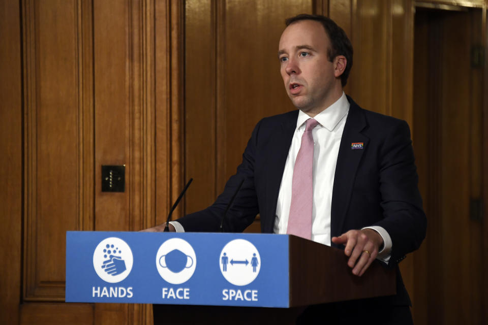 LONDON, ENGLAND - NOVEMBER 30: Secretary of State for Health and Social Care, Matt Hancock speaks during a virtual Covid-19 press conference at Downing Street on November 30, 2020 in London, England. (Photo by Alberto Pezzali - WPA Pool/Getty Images)