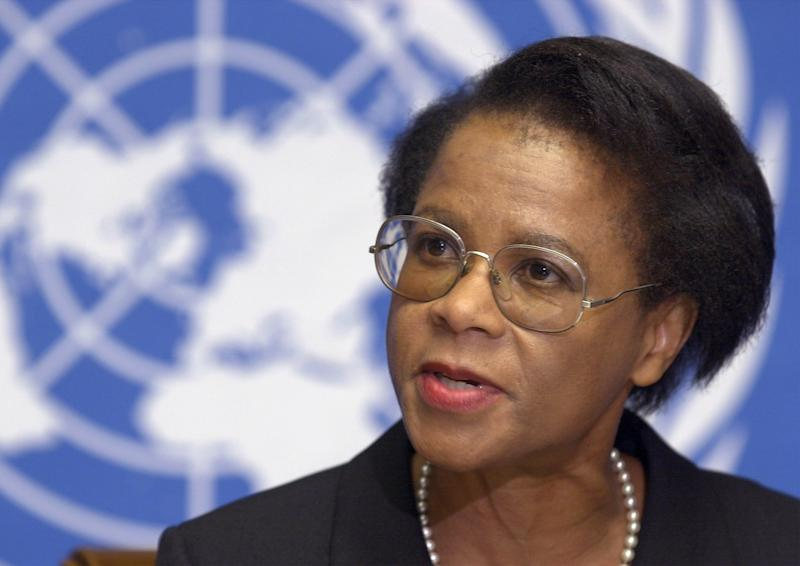 """FILE-  In this Wednesday June 28, 2000 file photo,  Mamphela Ramphele speaks during a press conference at the United Nations Headquarters in Geneva. Academic and co-founder of South Africa's Black Conscious Movement, Ramphele announced Monday Feb. 18. 2013, the creation of a new political party  called Agang in the Sesotho language meaning """"Build"""", """"to build the South Africa of our dreams,"""" when they will contest the 2014 elections. (AP Photo/Martial Trezzini)"""