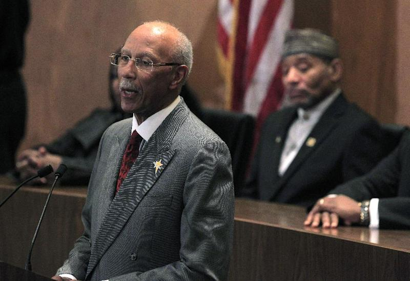Detroit Mayor Dave Bing lays out his plans and highlights accomplishments in his third State of the City address in Detroit, Wednesday, March 7, 2012. In the background is Detroit Councilman Kwame Kenyatta. (AP Photo/Carlos Osorio)