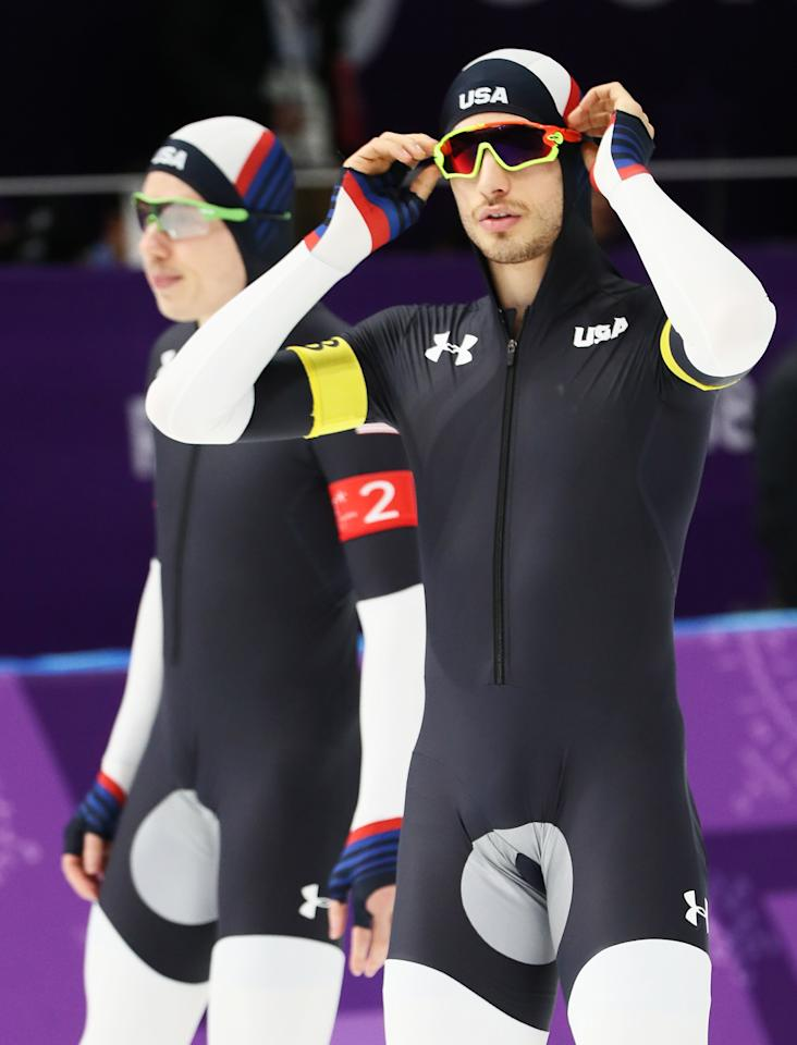 <p>Emery Lehman and Jonathan Garcia of the United States warm up prior to the Men's Team Pursuit Speed Skating Quarter Finals on day nine of the PyeongChang 2018 Winter Olympic Games at Gangneung Oval on February 18, 2018 in Gangneung, South Korea. (Photo by Jamie Squire/Getty Images) </p>