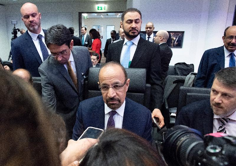 Saudi Energy Minister Khalid al Falih speaks to journalists at an OPEC conference in Vienna Austria