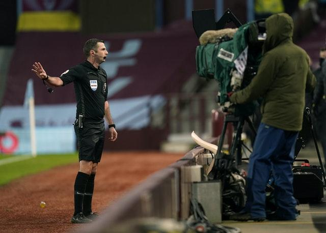 Referee Michael Oliver changed his mind over the awarding of an Aston Villa penalty against Brighton