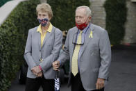 Jack Nicklaus, right, and his wife, Barbara, watch during the final round of the Memorial golf tournament, Sunday, July 19, 2020, in Dublin, Ohio. (AP Photo/Darron Cummings)
