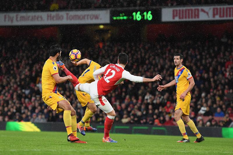 Giroud's scorpion kick is a likely contender for goal of the season: Getty Images
