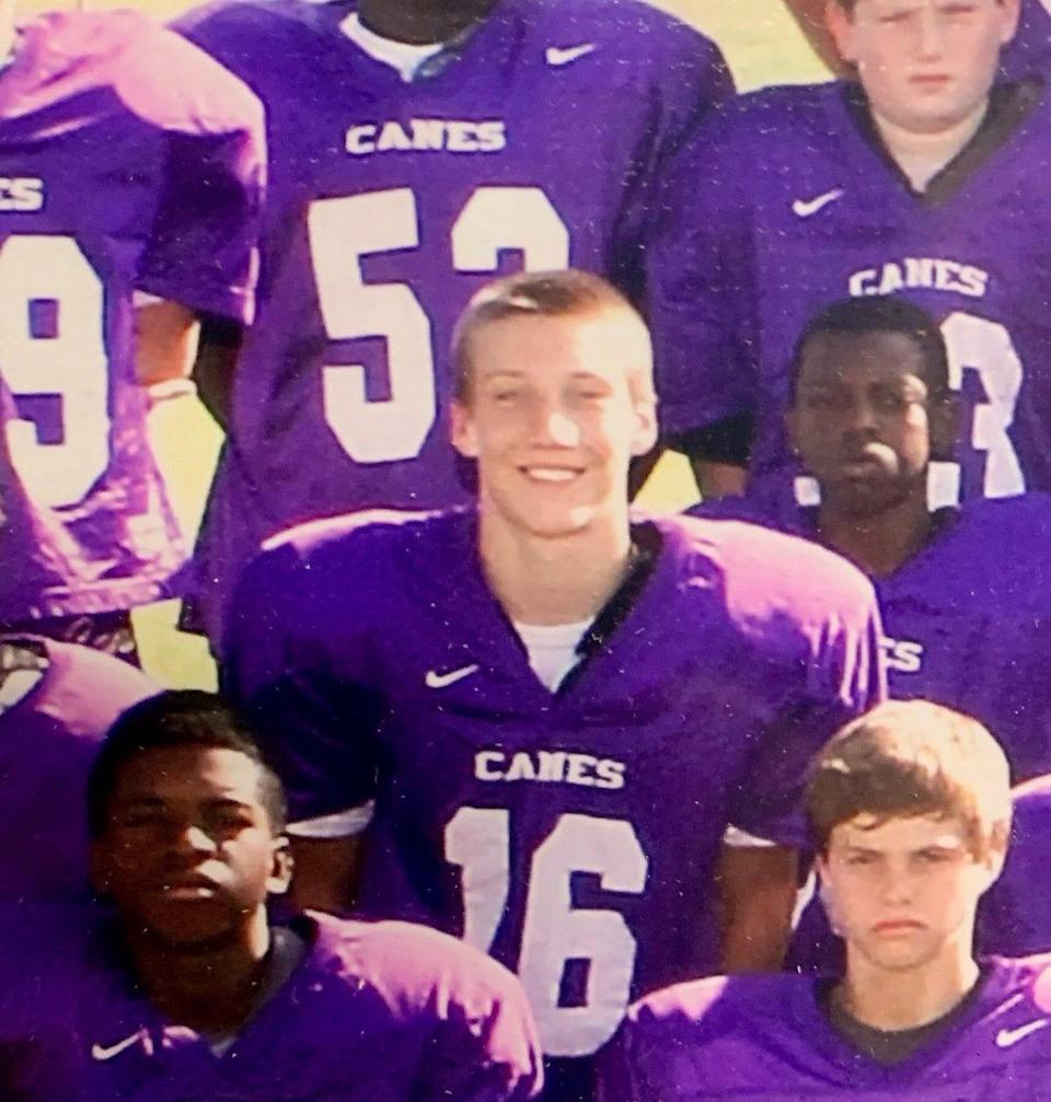 QB Trevor Lawrence in a team photo as a seventh-grader at Cartersville Middle School. He led the Purple Hurricanes to middle school championships in 2012 and 2013.