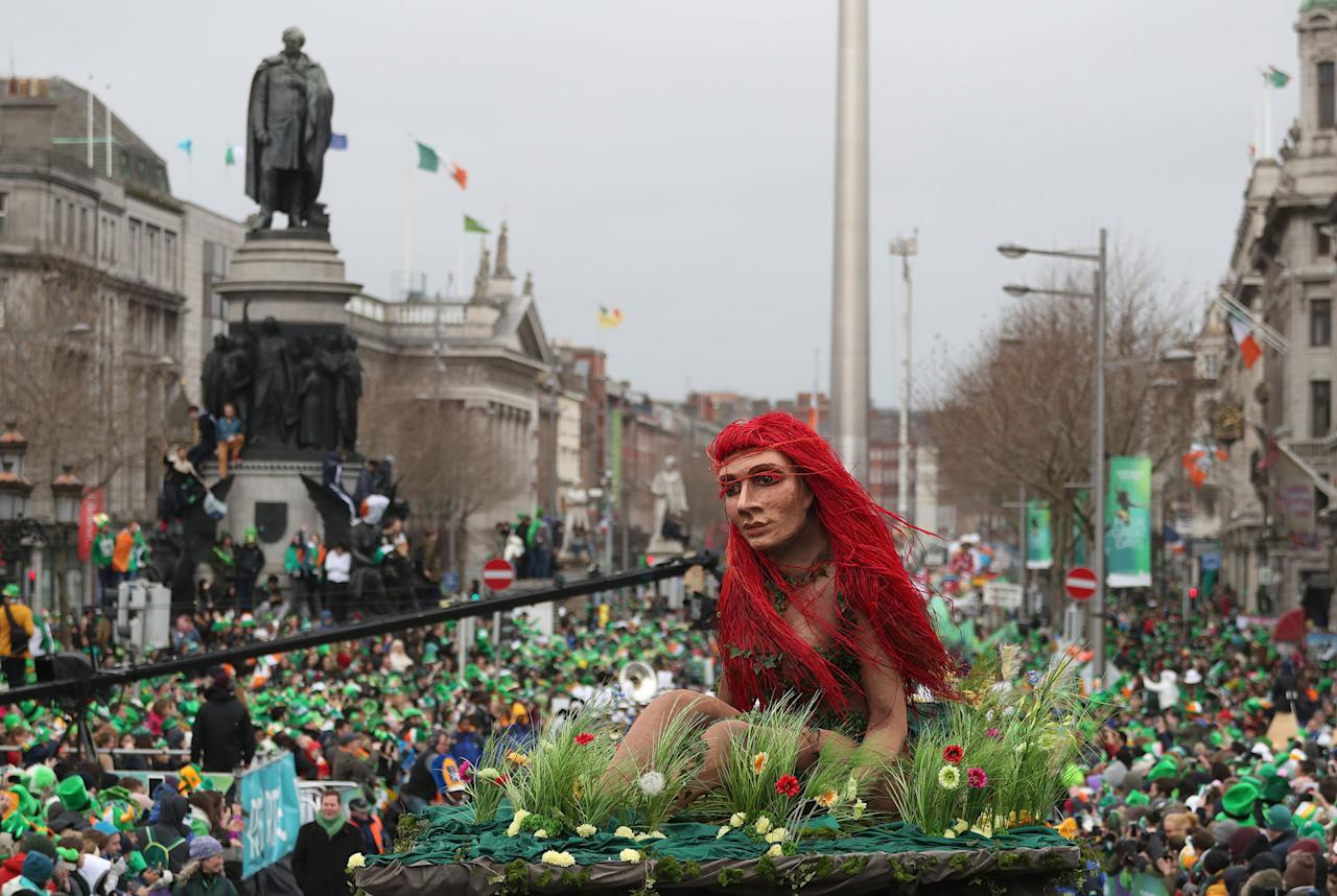 <p>Participants take part in the St Patrick's Day parade on the streets of Dublin. (Brian Lawless/PA Images via Getty Images) </p>