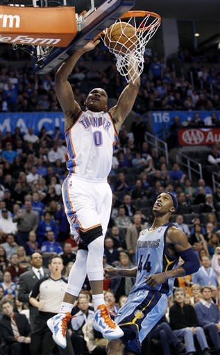 Oklahoma City Thunder guard Russell Westbrook (0) dunks in front of Memphis Grizzlies forward Dante Cunningham (44) in the third quarter of an NBA basketball game in Oklahoma City, Friday, Feb. 3, 2012. Oklahoma City won 101-94. (AP Photo/Sue Ogrocki)