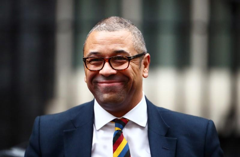 FILE PHOTO:  Britain's Conservative Party Chairman James Cleverly is seen at Downing Street in London